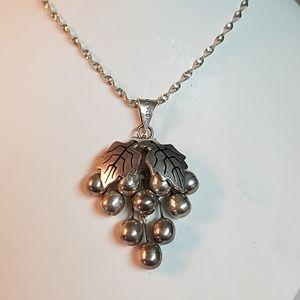 925 Sterling Mexico Grape Pendant Necklace